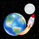 Space rocket launching from earth to moon Stock Image