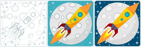 Space rocket on moon background. Set. Vector Royalty Free Stock Image