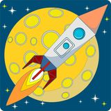 Space Rocket on Moon Background Vector Stock Photography
