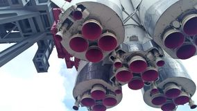 Space rocket nozzle. The spacecraft is located on the launch pad. stock footage