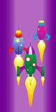 Space rocket race. Editable vector illustration of space rockets racing in outer space vector illustration