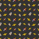 Space Rocket Robots and Saturn Seamless Pattern Stock Images