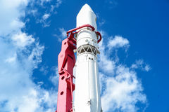 Space Rocket. Russia on blue sky bacground. Stock Photo