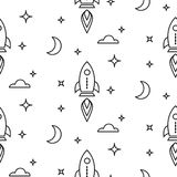 Space rocket scandinavian line style seamless pattern. Stock Photo