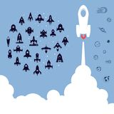 Space rocket. Science and shuttle,Planets in orbit and space, startup business. Vector illustration vector illustration