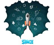 Space rocket. Science and shuttle, Planets in orbit and space, startup business. Vector illustration royalty free illustration