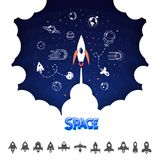 Space rocket. Science and shuttle,Planets in orbit and space, startup business. Vector illustration royalty free illustration