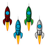 Space rocket set vector illustration