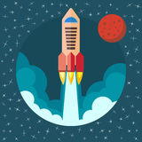 Space rocket ship in round piece. Space rocket launch with Mars in the background. Project startup and development process concept. The rocket flies upwards Royalty Free Stock Photo