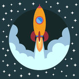 Space rocket ship in round piece. Space rocket launch. Project startup and development process concept. The rocket flies upwards Royalty Free Stock Image