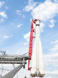 Space Rocket  stands vertically Stock Images