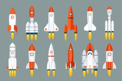 Space rocket start up launch symbol innovation development technology flat design icons set template vector illustration. Space rocket start up launch symbol stock illustration