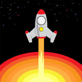 Space Rocket Start Up and Launch. Symbol New Businesses Innovation Development Flat Design Icons Stock Image