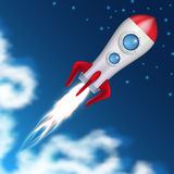 Space rocket take off. Science spaceship launch with blast fire vector illustration. Ship launch to space, spacecraft or rocket flight Stock Photo