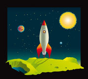 Space rocket visiting a planet vector illustration