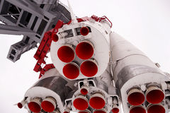 Space rocket Vostok on a pedestal in park Stock Image