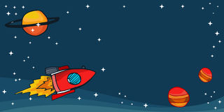 Space rockets with planets and stars. Illustration Royalty Free Stock Image