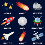 Space Rockets, Satellite & Comets Set. Collection of the nine outer space elements: stars, comets, asteroid, rocket, the Moon, spacecraft, shuttle and satellite vector illustration