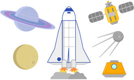 Space rockets, satellites and planets vector illustration. Space ships, planets and satellites astronomic icon set Stock Image