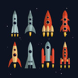 Space rockets vector icons set in flat style Stock Image