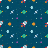 Space rocketship launch seamless pattern. Rocket flat design concept for Project start up and development process.Space rocketship launch seamless pattern for Royalty Free Stock Photography