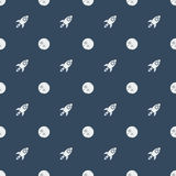 Space rocketship launch seamless pattern. Rocket flat design concept for Project start up and development process.Space rocketship launch seamless pattern for Royalty Free Stock Photos