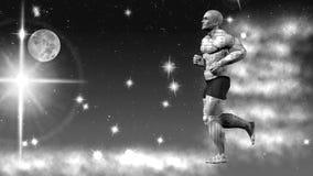 Space runner. 3D rendering. Art. 4K. Robot runs in space. Illustration. Side view Stock Images