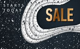 Space sale banner with paper cut black background, space design for banner, flyer, invitation, poster, web site or greeting card. royalty free illustration