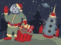 Space Santa Claus. Santa Claus astronaut say Halo from a moon - vintage retro space vector illustration vector illustration