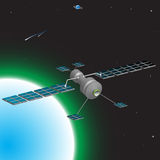 Space satellite. Colorful illustration with space satellite orbiting above the earth Stock Photography
