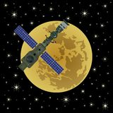 Space satellite on a background of Moon-6 Stock Photo