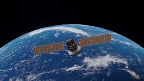 Space satellite communication orbiting Earth globe. Slowly moving. Full hd resolution 3d animation. Elements of this render are