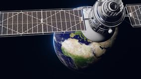 Space satellite communication orbiting Earth globe. Slowly moving. Full hd resolution 3d animation. Elements of this video are
