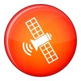 Space satellite icon, flat style Royalty Free Stock Photo
