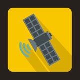 Space satellite icon in flat style Stock Photo