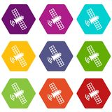 Space satellite icon set color hexahedron Stock Images