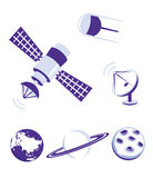 Space and satellite icons blue set Stock Photo