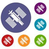 Space satellite icons set Stock Photography