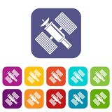 Space satellite icons set Royalty Free Stock Photography