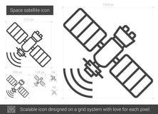 Space satellite line icon. Stock Photo