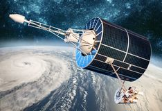 Space satellite monitoring from earth orbit weather from space, hurricane, Typhoon on planet earth stock photo