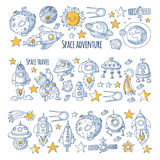 Space, satellite, moon, stars, spacecraft, space station Space hand drawn doodle icons and patterns Stock Image