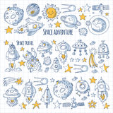 Space, satellite, moon, stars, spacecraft, space station Space hand drawn doodle icons and patterns Stock Photos