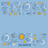 Space, satellite, moon, stars, spacecraft, space station Space hand drawn doodle icons and patterns Stock Photography