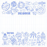 Space, satellite, moon, stars, spacecraft, space station Space hand drawn doodle icons and patterns Stock Images