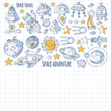 Space, satellite, moon, stars, spacecraft, space station Space hand drawn doodle icons and patterns Royalty Free Stock Images