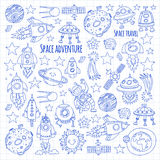 Space, satellite, moon, stars, spacecraft, space station Space hand drawn doodle icons and patterns Royalty Free Stock Image