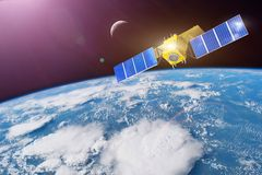 Space satellite in orbit around the Earth. Elements of this image furnished by NASA royalty free stock images