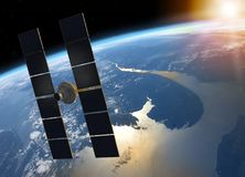 Space Satellite Orbiting Planet Earth. 3D render of a space satellite with solar panels orbiting planet Earth facing the Sun Stock Photo
