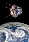 Space satellite over the planet earth Royalty Free Stock Images